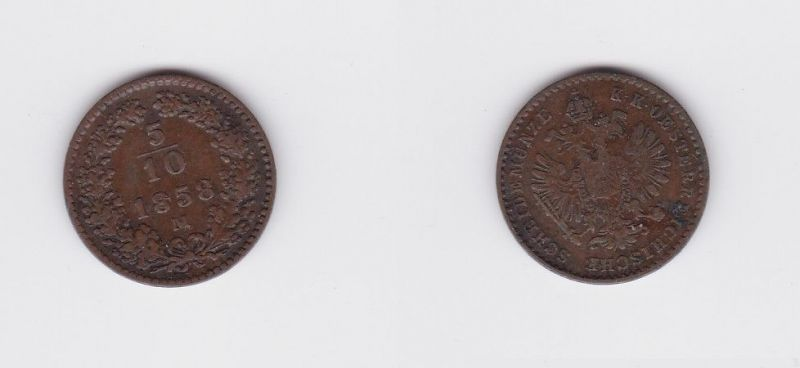 5/10 Kreuzer Kupfer Münze Österreich Franz Joseph 1858 M Mailand (126863)