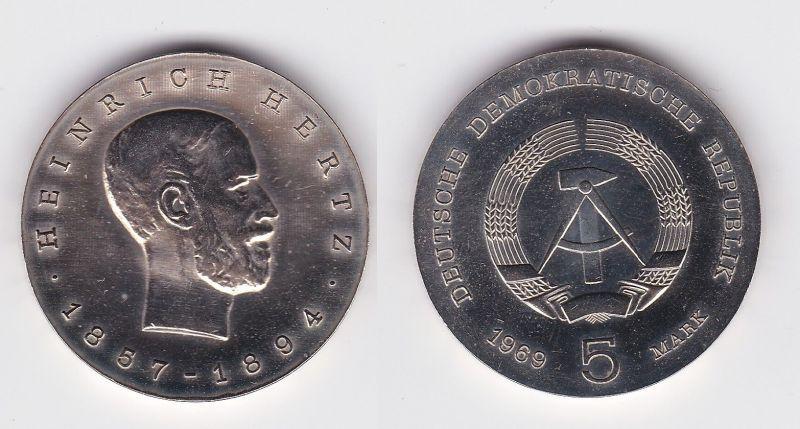 DDR Gedenk Münze 5 Mark Heinrich Hertz 1969 (102793)