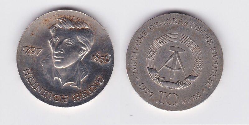 DDR Gedenk Silber Münze 10 Mark Heinrich Heine 1972 (102498)