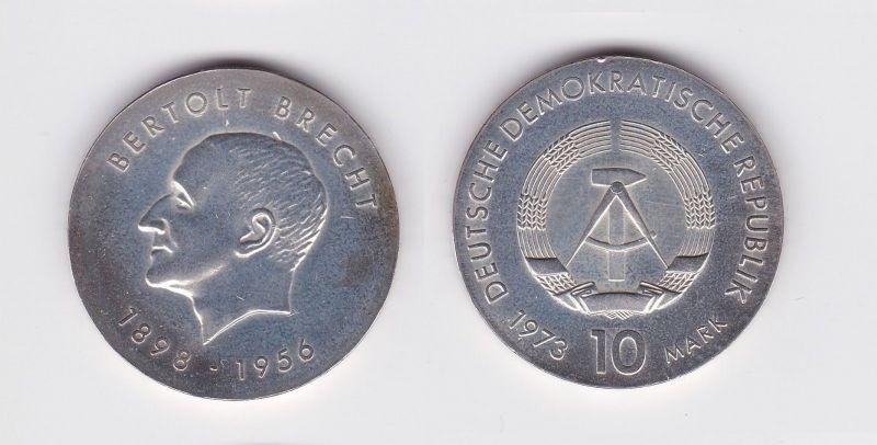 DDR Gedenk Silber Münze 10 Mark Bertholt Brecht 1973 (109192)