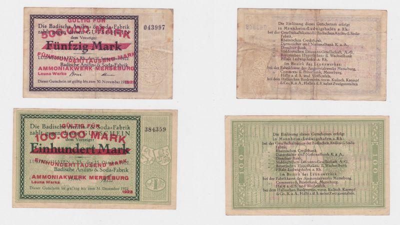 2 Banknoten Inflation Ammoniakwerk Merseburg Leuna Werke 1923 (126224)