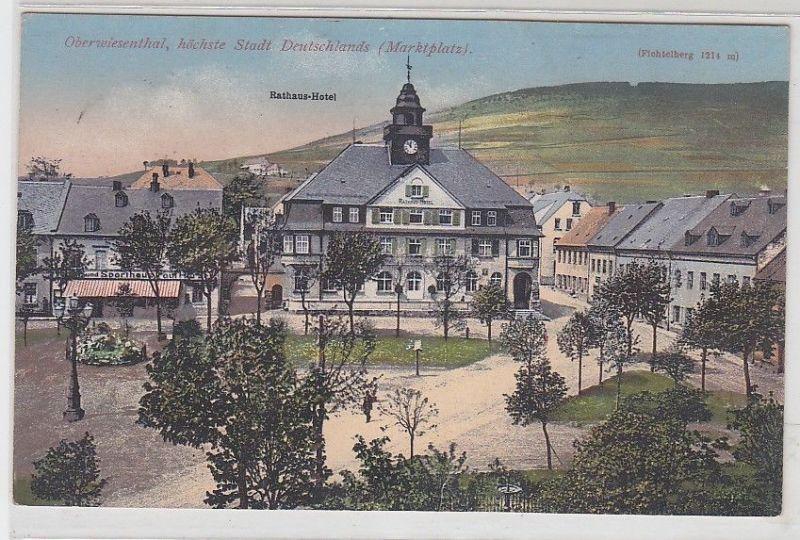 68684 Feldpost Ak Oberwiesenthal Marktplatz und Rathaus Hotel 1918