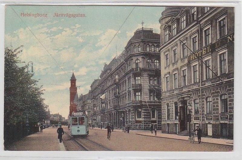 64719 Ak Helsingborg in Schweden Järnvägsgatan mit Straßenbahn 1913