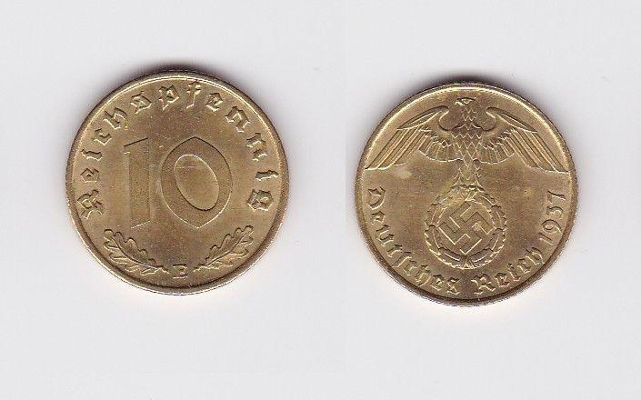 10 Pfennig Messing Münze 3reich 1937 E Jäger 364 122927 Nr