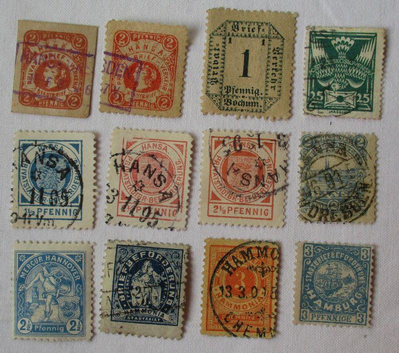 Briefmarken kleine Sammlung Privatpostanstalten mit 12 Werten (109117)