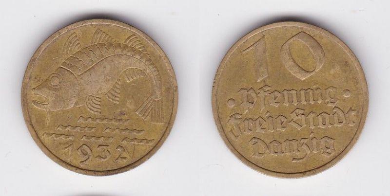 10 Pfennig Messing Münze Danzig 1932 Dorsch Jäger D 13 (115641)