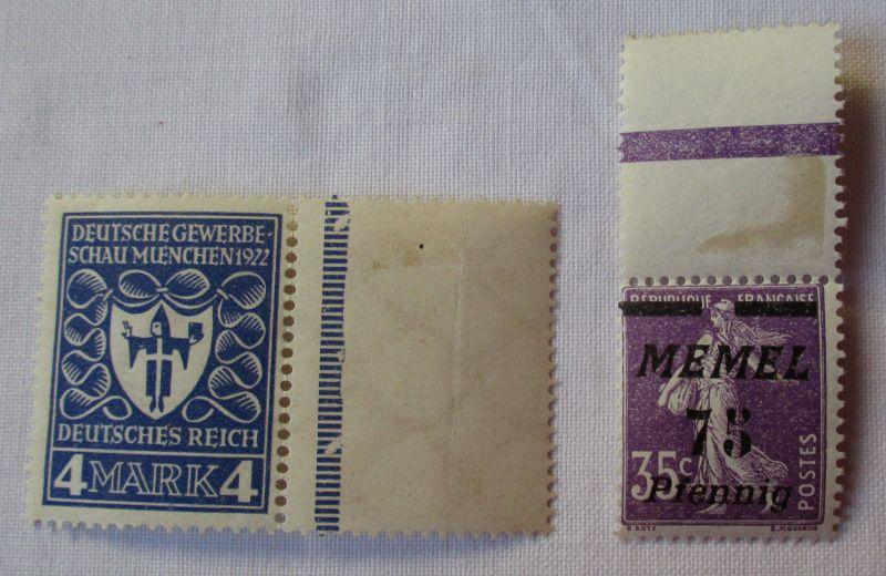 2 seltene alte Briefmarken DR und Memel mit Randstück (103271)