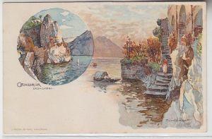 64308 Ak Lithographie Gandria Schweiz Lago di Lugano um 1910