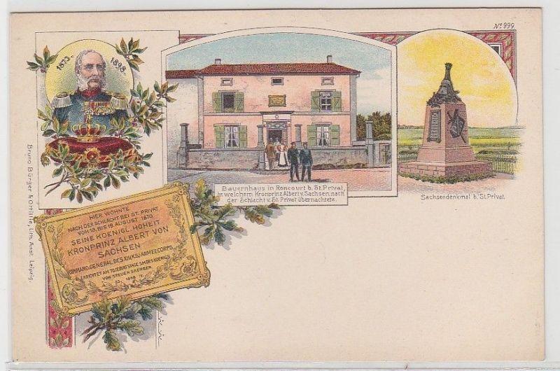 68195 Ak Lithographie St.Privat Kronprinz Albert von Sachsen um 1898
