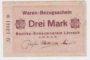 3 Mark Banknote Waren Bezugsschein Bezirks Konsumverein Lörrach  (105453)