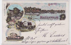 91922 Ak Lithographie Gruss aus Marienwalde Bahnhof, Forsthaus usw. um 1900