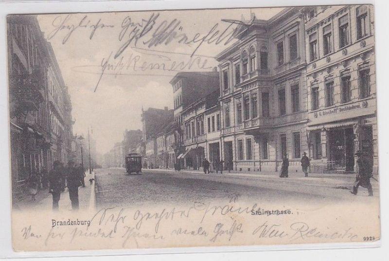 90961 Ak Brandenburg Steinpleiss mit Strassenbahn 1906