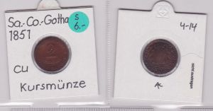 2 Pfennig Kupfer Münze Sachsen-Coburg-Gotha 1851 F (120412)