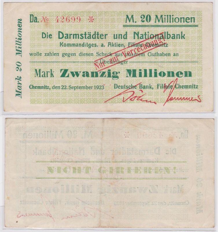 20 Millionen Mark Banknote Chemnitz Darmstädter & Nationalbank 22.9.1923(121826)