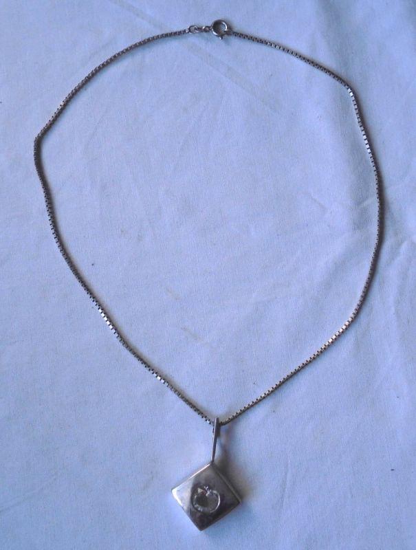 Schöne Damenkette Kette 925er Silber mit 885er Silber Anhänger + Stein (109915)