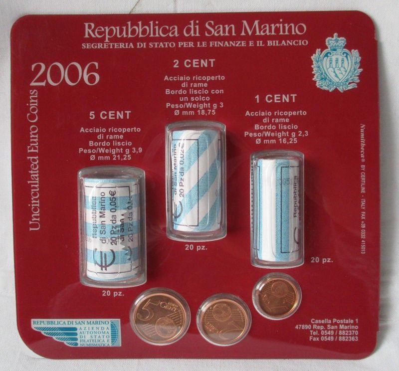 Repubblica di San Marino 1 - 5 Cent Bankrollen UNC OVP 63 Münzen 2006 (124185)