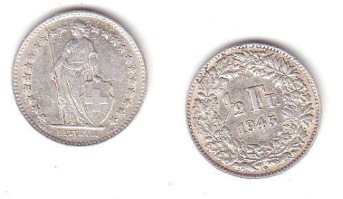 1/2 Franken Silber Münze Schweiz 1945 B (113855)