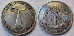 DDR Medaille VEB Kunstlederfabrik Tannenbergsthal 1969 (122340)