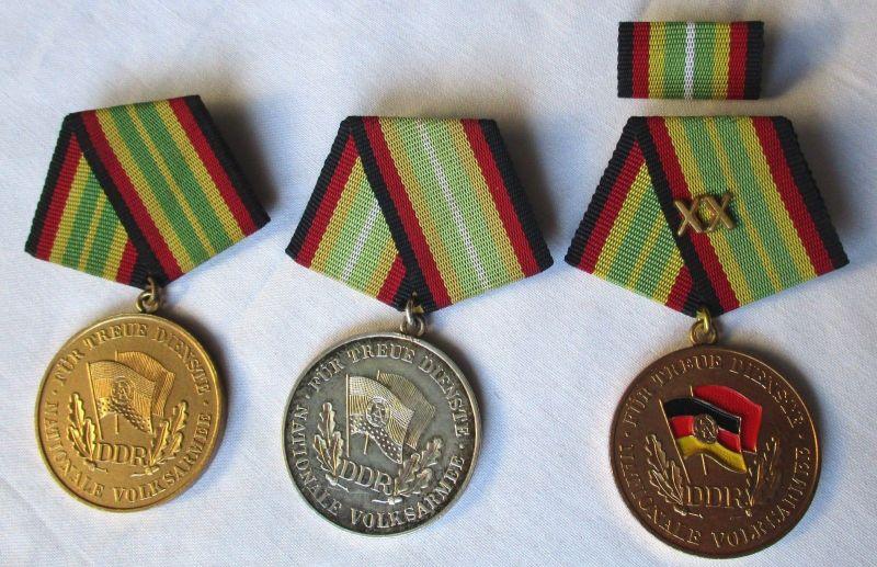 3x DDR Orden NVA Nationale Volksarmee Verdienstmedaille (123625)