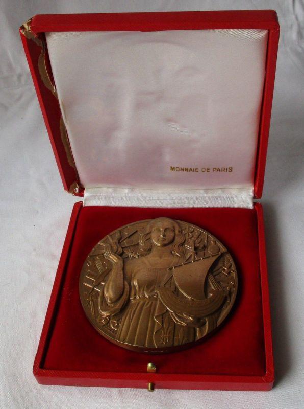 Französische Bronzemedaille Stadtpanorama Paris Signatur P.Turin + Etui (120774)