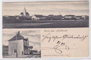 82577 Mehrbild Ak Gruß aus Aufhausen Bahnhof und Totalansicht 1906