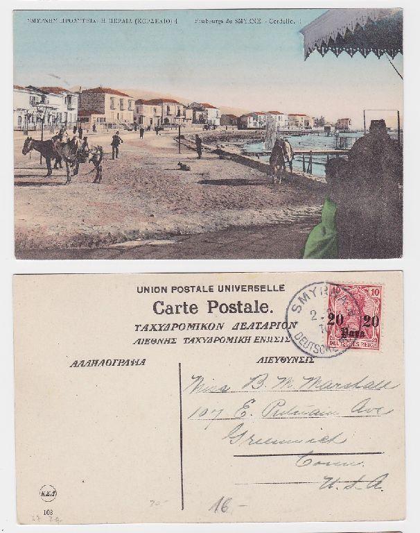 42010 Ak Smyrna Deutsche Post in der Türkei 1910