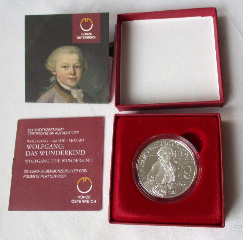20 Euro Silbermünze Österreich Wolfgang Das Wunderkind 2015 PP (125303)