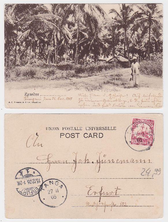 55635 Ak Zanzibar Deutsch Ost Afrika Stempel Pangani Tanga 1905