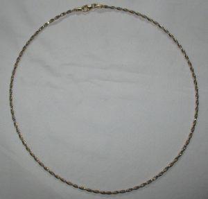 Hochwertige Damenkette Kette aus 750er Gold BiColor Weißgold Gelbgold (123380)