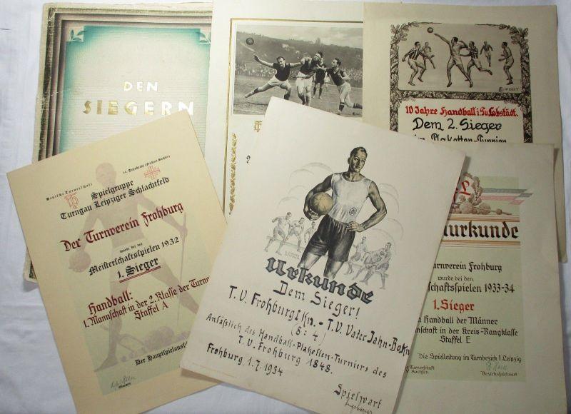 Urkundenmappe mit 5 Urkunden Turnverein Frohburg Handball 1932 (123113)