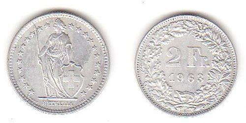 2 Franken Silber Münze Schweiz 1963 B (113282)
