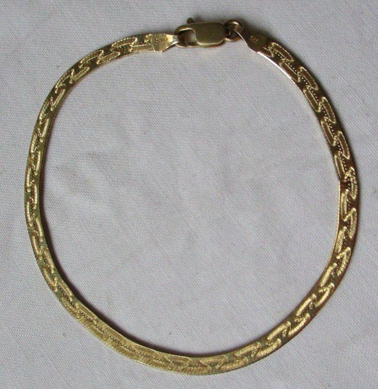 Elegantes 585er Gold Armband Gliederarmband Länge 21 cm Ornamente (120093)
