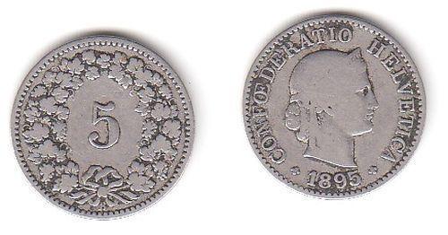 5 Rappen Nickel Münze Schweiz 1895 B (114631)