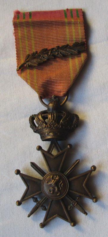 Orden Belgien Kreuz mit Krone und Band mit Lorbeerzweig (122500)
