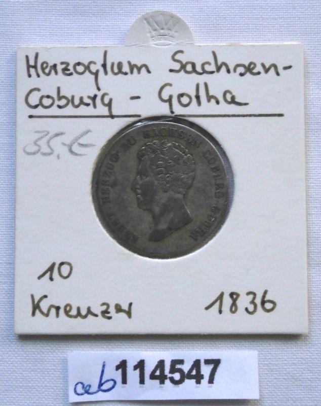 10 Kreuzer Silber Münze Herzogtum Sachsen Coburg Gotha 1836 (116568)