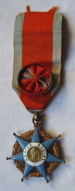 Emaillierter Orden Frankreich für soziale Verdienste am Band 1936 (123347)