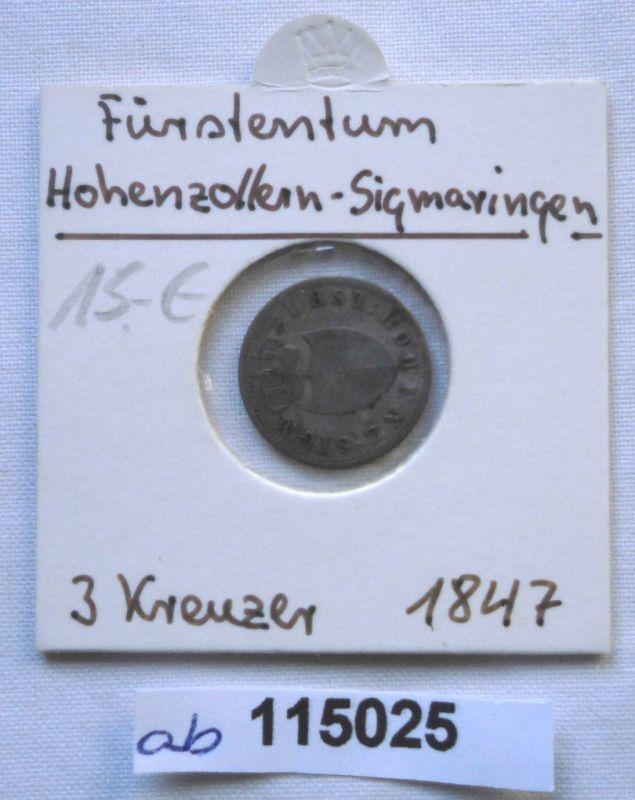 3 Kreuzer Silber Münze Hohenzollern Sigmaringen Carl 1847 (115025)