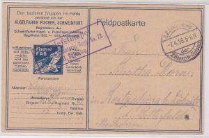 76115 Feldpost AK den Truppen im Felde gewidmet Kugelfabrik Fischer, Schweinfurt