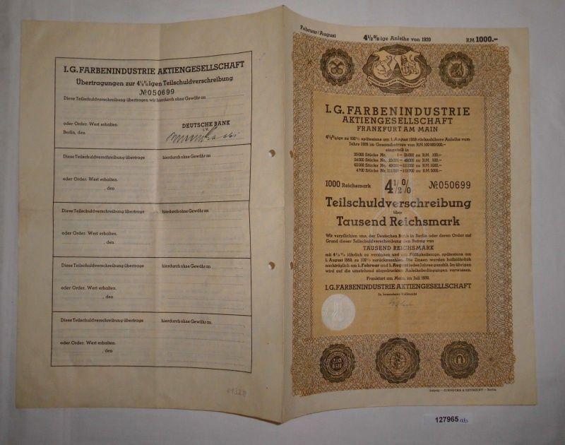 1000 Reichsmark Schuldverschreibung IG Farbenindustrie Frankfurt 1939 (127965)