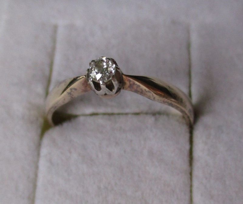 Hochwertiger 585er Gold Ring Damenring mit Brillantschliff Diamant (101900)