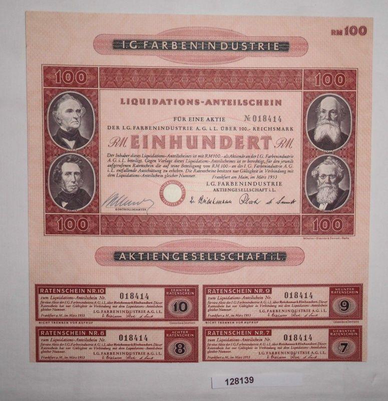 100 Reichsmark Aktie IG Farbenindustrie AG Frankfurt Main März 1953 (128139)