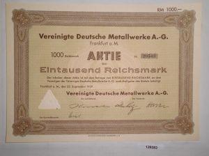 1000 Reichsmark Aktie Vereinigte Deutsche Metallwerke AG Frankfurt 1939 (128383)