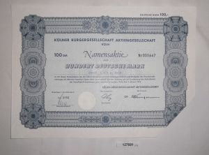 100 Mark Namensaktie Kölner Bürgergesellschaft AG Köln 4. Januar 1974 (127681)