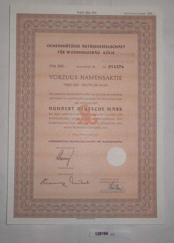 100 Mark Vorzugs-Namensaktie gemeinnützige AG für Wohnungsbau Köln 1955 (128166)