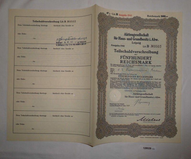 500 Reichsmark Schuldverschreibung AG für Haus- & Grundbesitz i.Abw. (128029)