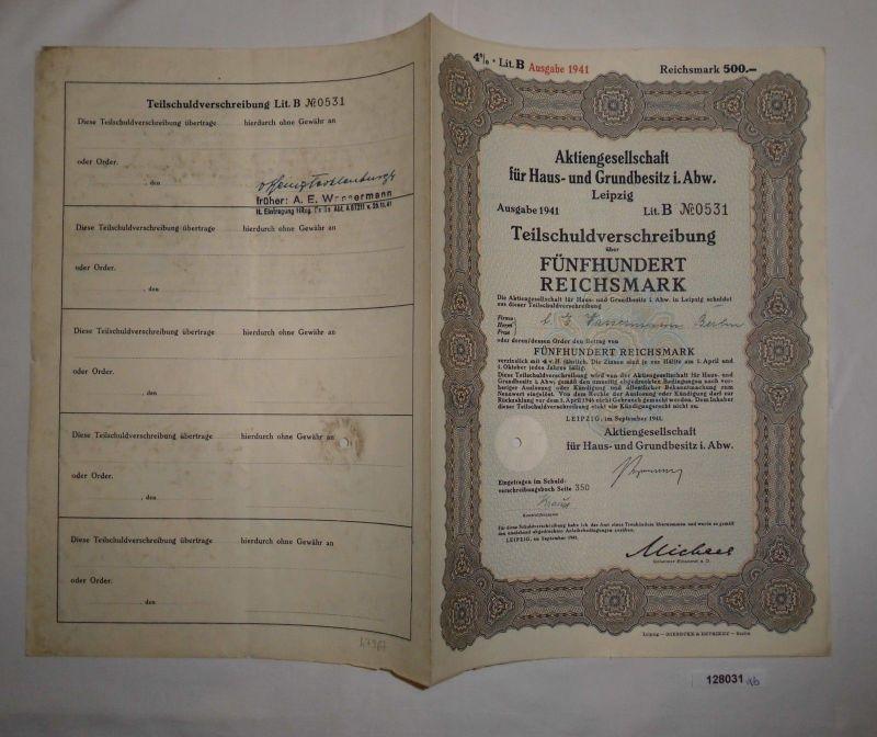 500 Reichsmark Schuldverschreibung AG für Haus- & Grundbesitz i.Abw. (128031)