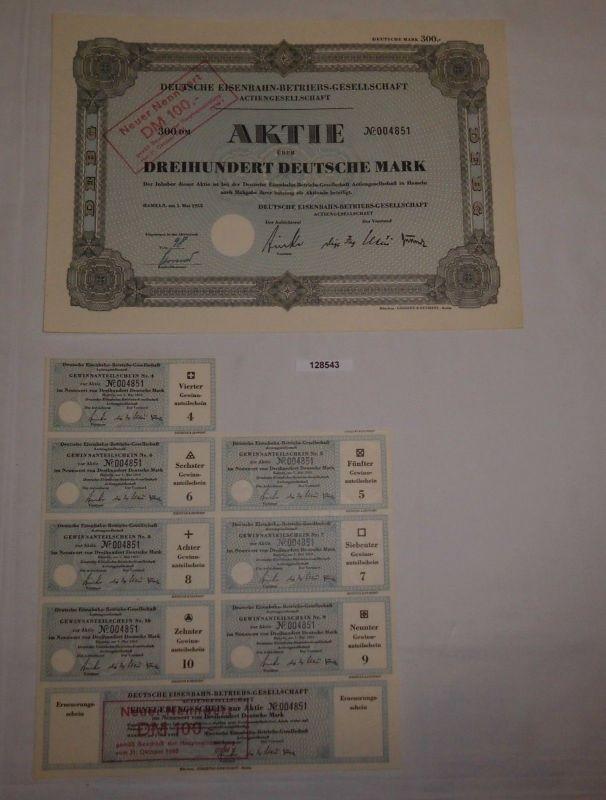 300 Mark Aktie Deutsche Eisenbahn-Betriebs-Gesellschaft AG Hameln 1952 (128543)