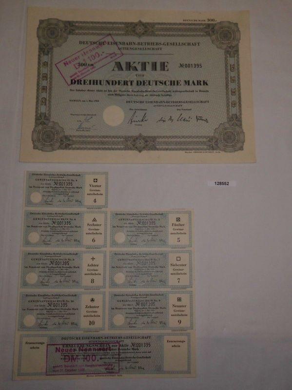 300 Mark Aktie Deutsche Eisenbahn-Betriebs-Gesellschaft AG Hameln 1952 (128552)