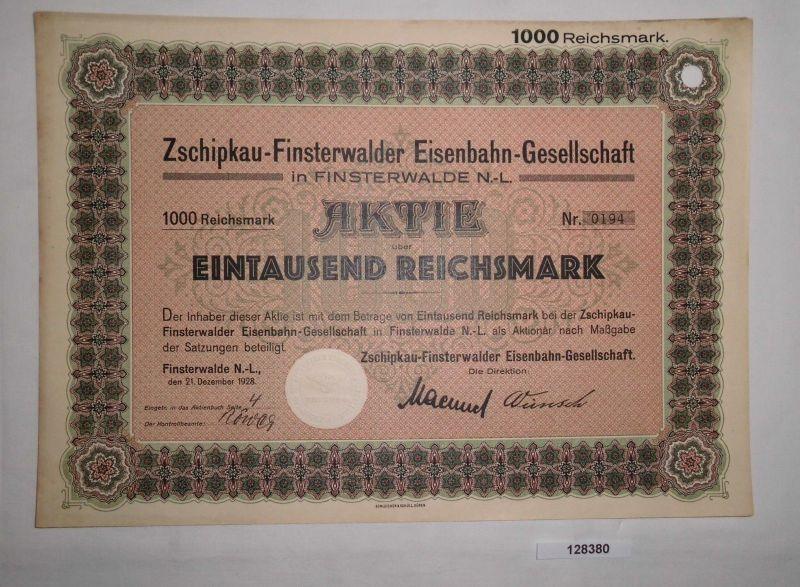 1000 Reichsmark Aktie Zschipkau-Finsterwalder Eisenbahn-Gesell. 1928 (128380)