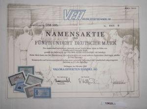 500 Mark Aktie VEH Valora Effekten Handel AG Ettlingen Oktober 1988 (129025)